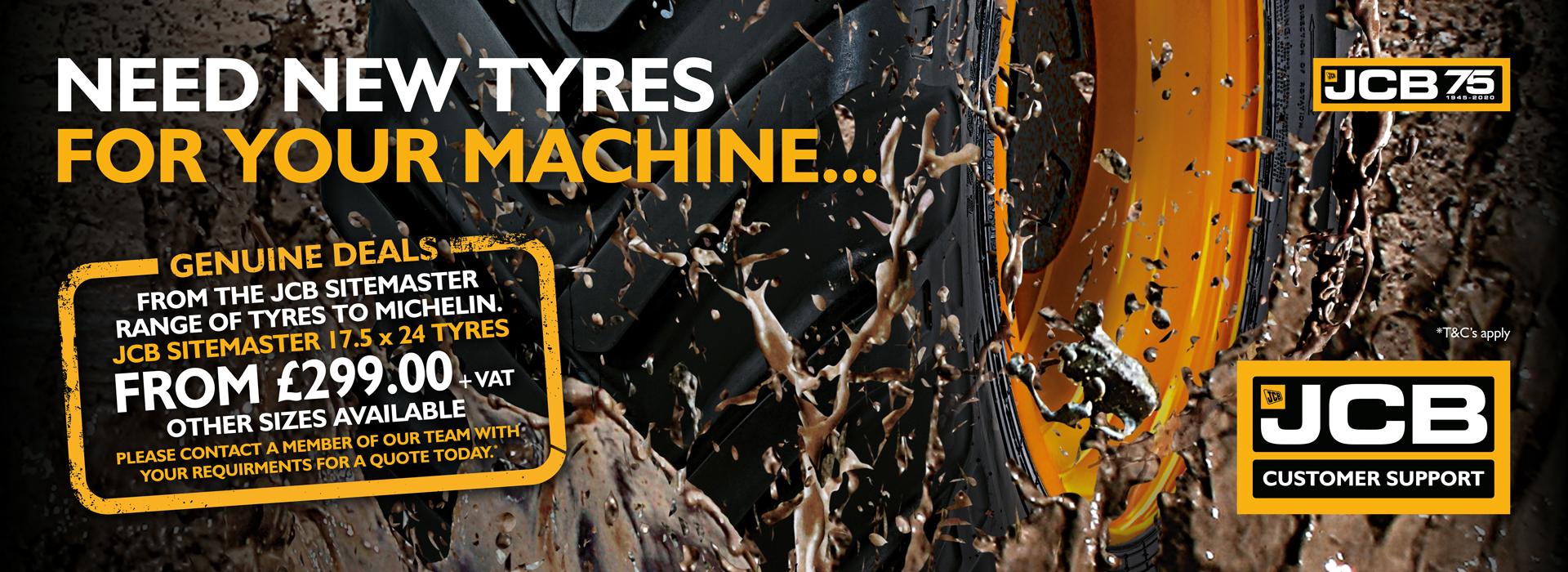 JCB tractor tyres from £3299+VAT at John Bownes Ltd